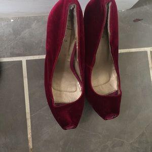 Quidad red wine velvet platform heels